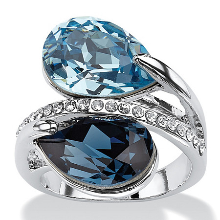 Sky and London Blue Pear-Cut Crystal Silvertone Bypass Cocktail Ring MADE WITH SWAROVSKI ELEMENTS at PalmBeach Jewelry