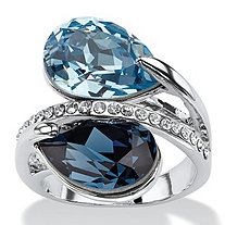 Sky and London Blue Pear-Cut Crystal Silvertone Bypass Cocktail Ring MADE WITH SWAROVSKI ELEMENTS