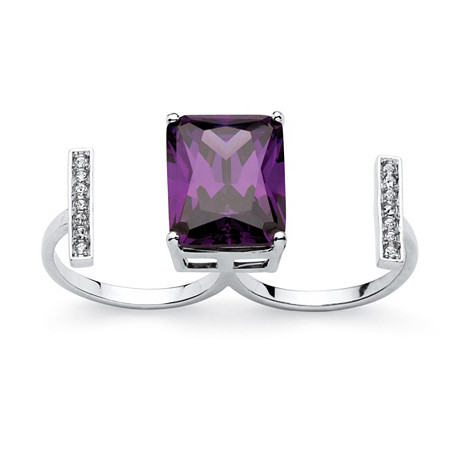 14.25 TCW Emerald-Cut Amethyst Cubic Zirconia and Crystal Double Ring in Silvertone at PalmBeach Jewelry