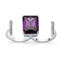 14.25 TCW Emerald-Cut Amethyst Cubic Zirconia and Crystal Double Ring in Silvertone