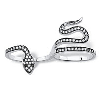 .49 TCW Pave Black Spinel and Cubic Zirconia Coiling Snake Two-Finger Ring in Antiqued Silvertone