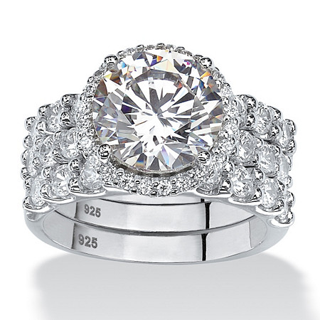5.78 TCW Round Cubic Zirconia Three-Piece Halo Bridal Set in Platinum over Sterling Silver at PalmBeach Jewelry