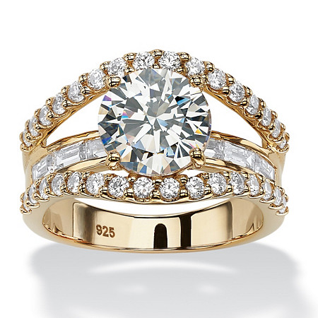 4.46 TCW Round Cubic Zirconia Bridge Engagement Ring in 18k Yellow Gold over Sterling Silver at PalmBeach Jewelry