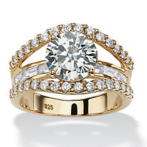 4.46 TCW Round Cubic Zirconia Bridge Engagement Ring in 18k Yellow Gold over Sterling Silver