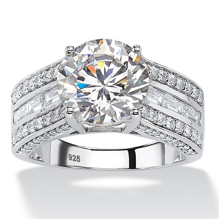 5.11 TCW Round Cubic Zirconia Engagement Channel Ring in Platinum over Sterling Silver at PalmBeach Jewelry