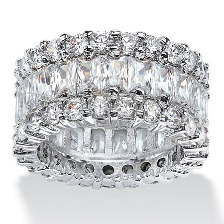 12.42 TCW Baguette-Cut Cubic Zirconia Eternity Ring in Platinum over Sterling Silver at PalmBeach Jewelry