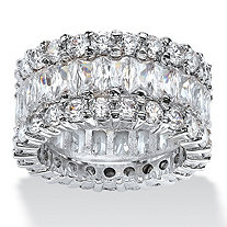 SETA JEWELRY 12.42 TCW Baguette-Cut Cubic Zirconia Eternity Ring in Platinum over Sterling Silver