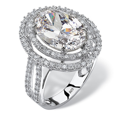 7.08 TCW Oval Cubic Zirconia Double Halo Engagement Ring in Platinum over Sterling Silver at PalmBeach Jewelry