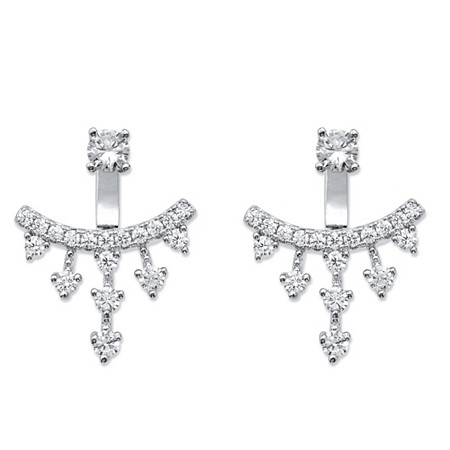 1.14 TCW Round Cubic Zirconia Ear Jacket Earrings in Sterling Silver at PalmBeach Jewelry
