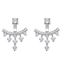 SETA JEWELRY 1.14 TCW Round Cubic Zirconia Ear Jacket Earrings in Sterling Silver