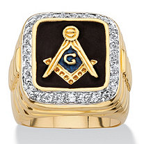 Men's .59 TCW Square Enamel and Cubic Zirconia 14k Yellow Gold-Plated Masonic Ring