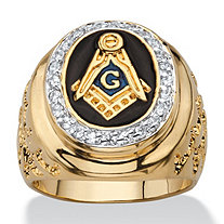 Men's .31 TCW Enamel and Cubic Zirconia Masonic Nugget Ring 14k Gold-Plated
