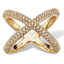 ".78 TCW Micro-Pave Cubic Zirconia Designer-Inspired ""X"" Ring in 14k Gold over Sterling Silver"