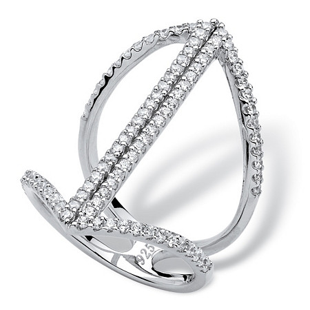 .92 TCW Micro-Pave Cubic Zirconia Mirror Image Ring in Sterling Silver at PalmBeach Jewelry