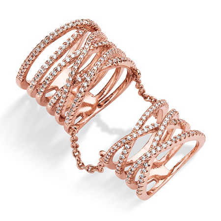 1 TCW Micro-Pave Cubic Zirconia Multi-Row Crossover Knuckle Ring Rose Gold-Plated at PalmBeach Jewelry