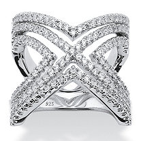 2.10 TCW Micro-Pave Cubic Zirconia Crisscross Chevron Ring in Sterling Silver