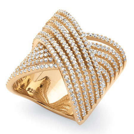 2.28 TCW Micro-Pave Cubic Zirconia Crossover Multi-Row Cocktail Ring 14k Gold-Plated at PalmBeach Jewelry