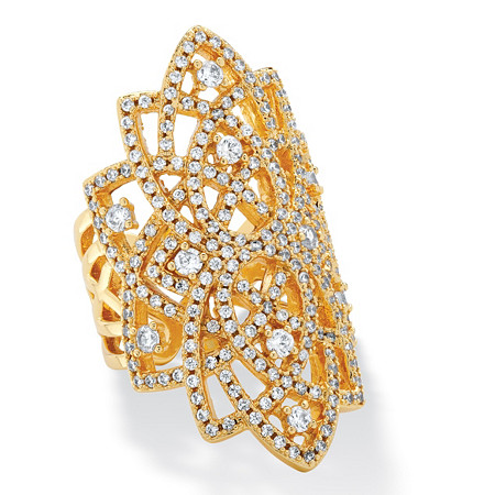 1.63 TCW Micro-Pave Cubic Zirconia Openwork Scroll Ring 14k Yellow Gold-Plated at PalmBeach Jewelry