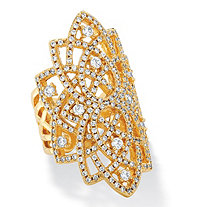 1.63 TCW Micro-Pave Cubic Zirconia Openwork Scroll Ring 14k Yellow Gold-Plated