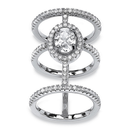 2.56 TCW Oval-Cut and Micro-Pave Cubic Zirconia Sterling Silver Triple-Band Halo Ring at PalmBeach Jewelry