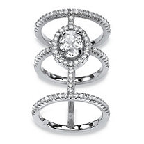 2.56 TCW Oval-Cut and Micro-Pave Cubic Zirconia Sterling Silver Triple-Band Halo Ring