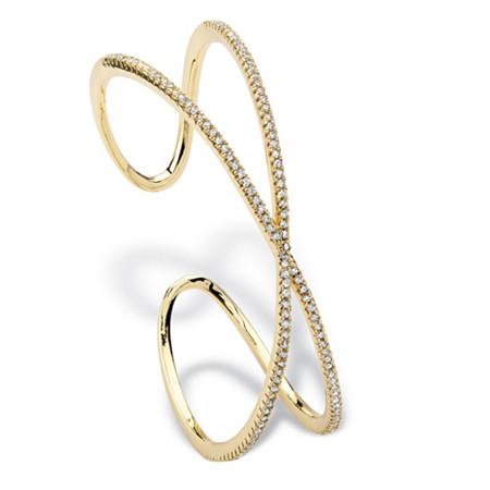 1.95 TCW Micro-Pave Cubic Zirconia Crisscross Cuff Bracelet 14k Gold-Plated at PalmBeach Jewelry