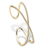 1.95 TCW Micro-Pave Cubic Zirconia Crisscross Cuff Bracelet 14k Gold-Plated