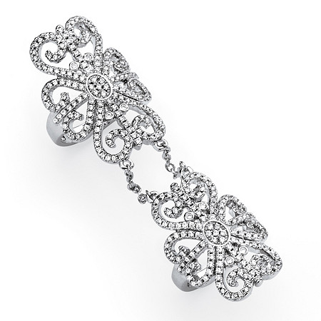 2.53 TCW Micro-Pave Cubic Zirconia Arabesque Scroll Knuckle Ring in Silvertone at PalmBeach Jewelry