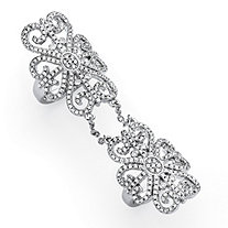 2.53 TCW Micro-Pave Cubic Zirconia Arabesque Scroll Knuckle Ring in Silvertone