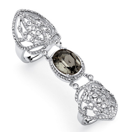 Oval-Cut Grey Crystal Openwork Expandable Knuckle Ring MADE WITH SWAROVSKI ELEMENTS Platinum-Plated at PalmBeach Jewelry