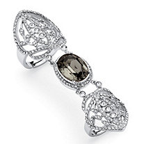 SETA JEWELRY Oval-Cut Grey Crystal Openwork Expandable Knuckle Ring MADE WITH SWAROVSKI ELEMENTS Platinum-Plated