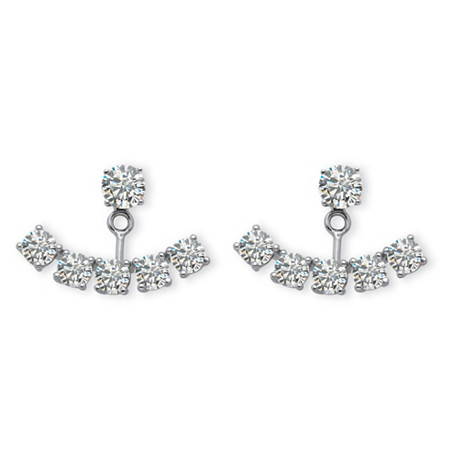 3.50 TCW Round Cubic Zirconia Adjustable Ear Jacket Stud Earrings in Platinum over Sterling Silver at PalmBeach Jewelry