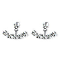 3.50 TCW Round Cubic Zirconia Adjustable Ear Jacket Stud Earrings in Platinum over Sterling Silver