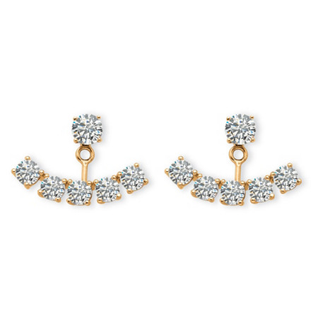 3.50 TCW Round Cubic Zirconia Adjustable Ear Jacket Earrings in 14K Yellow Gold over Sterling Silver at PalmBeach Jewelry