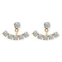 3.50 TCW Round Cubic Zirconia Adjustable Ear Jacket Earrings in 14K Yellow Gold over Sterling Silver