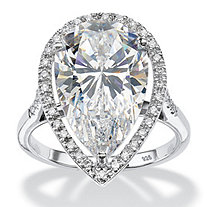 8.33 TCW Pear-Cut Cubic Zirconia Halo Ring in Platinum over Sterling Silver