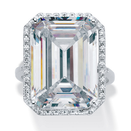 19.57 TCW Emerald-Cut Cubic Zirconia Halo Ring in Platinum over Sterling Silver at PalmBeach Jewelry