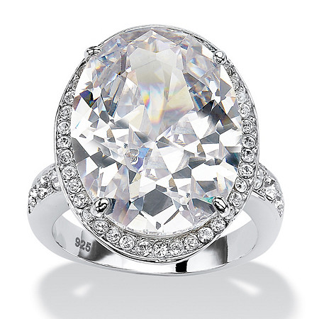 18.92 TCW Oval-Cut Cubic Zirconia Platinum over Sterling Silver Halo Cocktail Ring at PalmBeach Jewelry