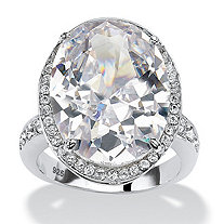 SETA JEWELRY 18.92 TCW Oval-Cut Cubic Zirconia Platinum over Sterling Silver Halo Cocktail Ring