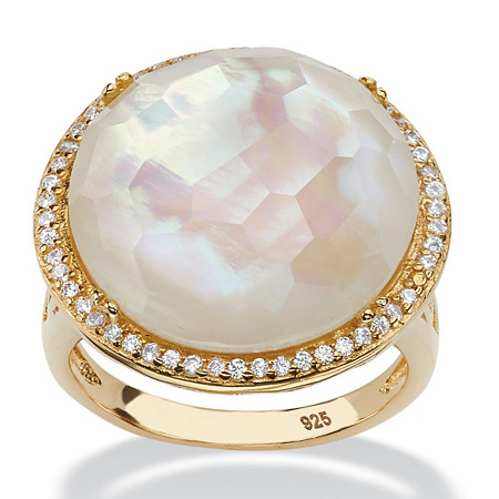 .27 TCW Genuine Mother-Of-Pearl and Pave CZ Accent 14k Gold over Sterling Silver Halo Cocktail Ring at PalmBeach Jewelry