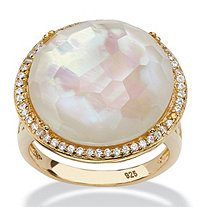 SETA JEWELRY .27 TCW Mother-Of-Pearl and Pave CZ Accent 14k Gold over Sterling Silver Halo Cocktail Ring