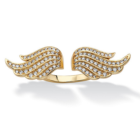 .72 TCW Micro-Pave Cubic Zirconia Adjustable Angel Wing Ring 14k Gold-Plated at PalmBeach Jewelry