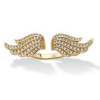.72 TCW Micro-Pave Cubic Zirconia Adjustable Angel Wing Ring 14k Gold-Plated