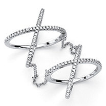 .88 TCW Micro-Pave Cubic Zirconia Sterling Silver Crisscross Knuckle Ring