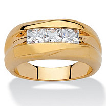 Men's .90 TCW Square-Cut Cubic Zirconia Channel-Set Ring 18k Yellow Gold-Plated