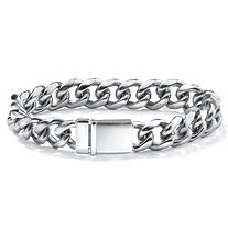 "Men's Curb-Link Chain Bracelet in Stainless Steel 10"" (13mm)"