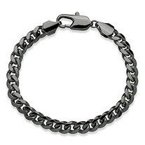 "Men's Curb-Link Chain Bracelet Black Ruthenium-Plated 9"" (10.5mm)"