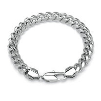 "Men's Curb-Link Chain Bracelet in Silvertone 9"" (10.5mm)"