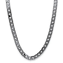 "Men's Curb-Link Chain Necklace Black Ruthenium-Plated 24"" (12mm)"