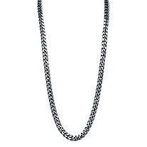 "Men's Curb-Link Chain Necklace Black Ruthenium-Plated 24"" (10.5mm)"
